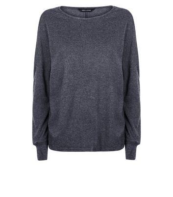 Dark Grey Brushed Cuffed Sleeve Top New Look