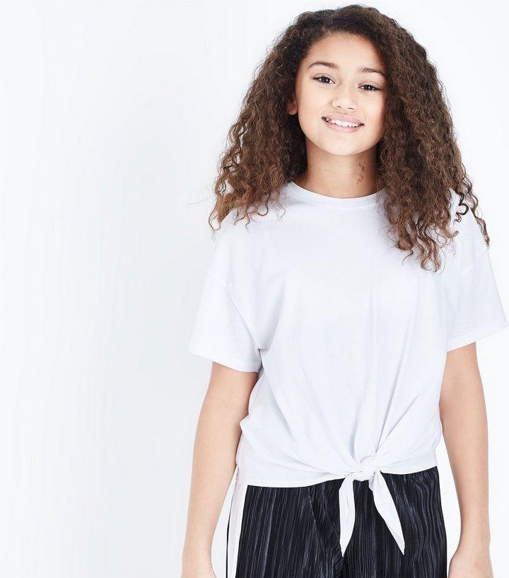 769d292c1fe34 Girls White Tie Front T-Shirt