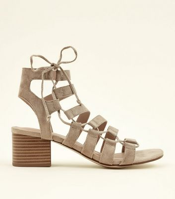 Light Brown Suede Ghillie Lace Up Heeled Sandals