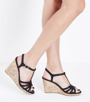 Black Strappy T-Bar Cork Wedges | New Look