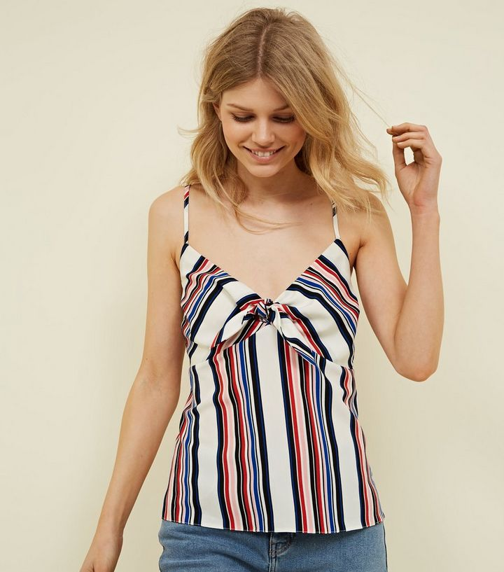fe423a5c844709 Petite White Spliced Stripe Tie Front Cami