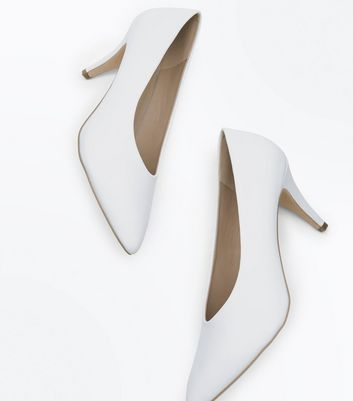 White Pointed Heel Court Shoes New Look