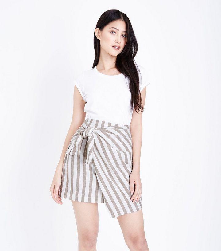 1bc7b7723d Petite White Stripe Linen Blend Wrap Mini Skirt | New Look