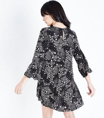 Black Multi Floral Bell Sleeve Smock Dress New Look