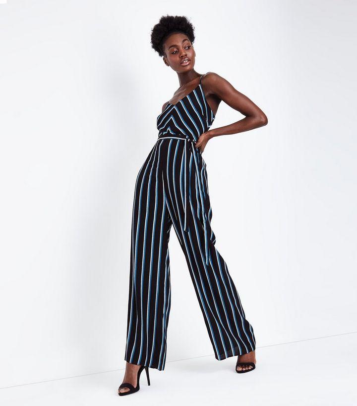 3fb2c925495e Blue Chevron Stripe Strappy Jumpsuit   New Look