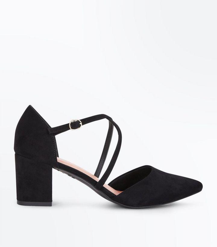 0d0e6714e354 Black Comfort Flex Suedette Pointed Strappy Block Heels