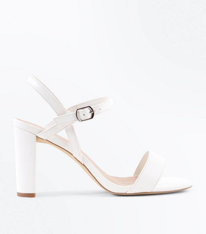 ffb5a2f64f92 Wide Fit White Block Heel Sandals