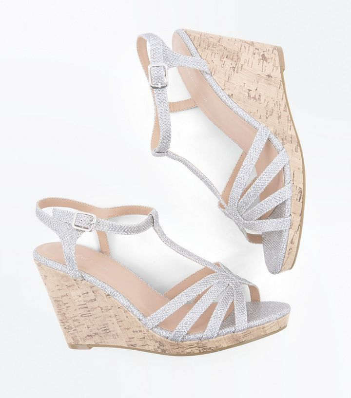 ca5c49ae654 ... Silver Glitter Strappy T-Bar Cork Wedges. ×. ×. ×. Shop the look