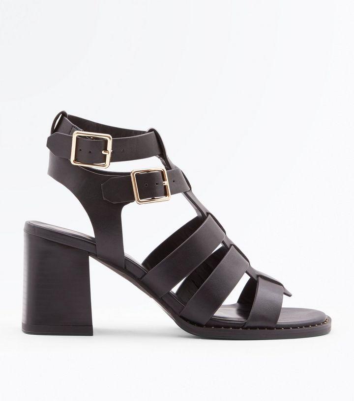 264d5224eb7f Black Stud Trim Block Heel Gladiator Sandals