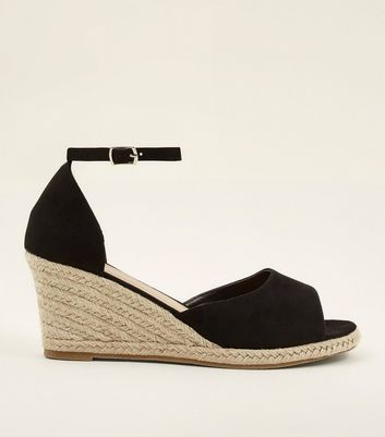 black open toe espadrille wedges