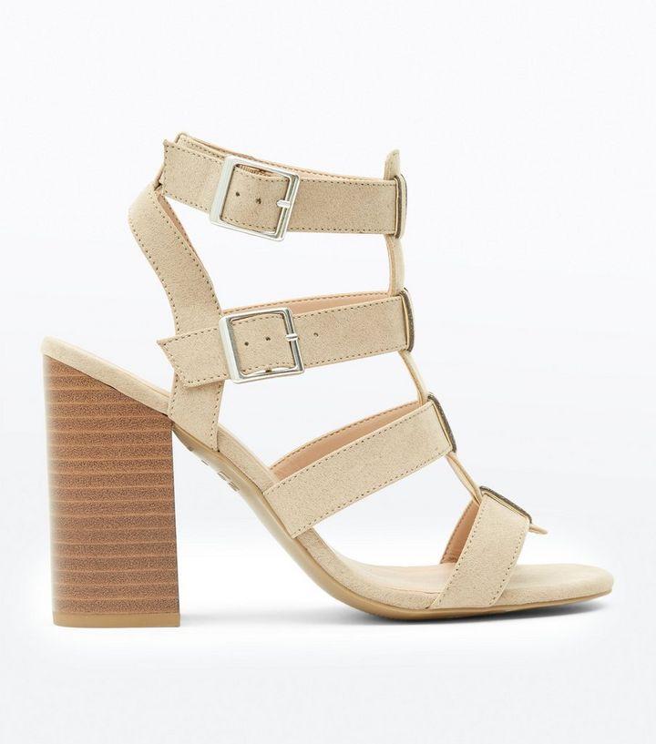 acbb235f970c Mink Suedette Wood Heel Gladiator Sandals