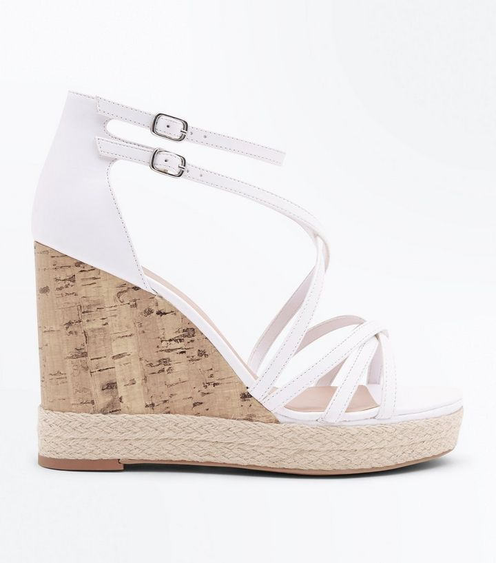 21b6730aa White Strappy Platform Espadrille Wedges | New Look