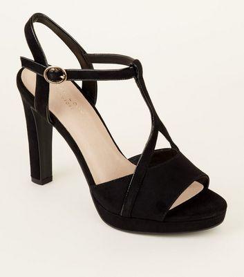 Comfort Suedette T-Bar Platform Heels