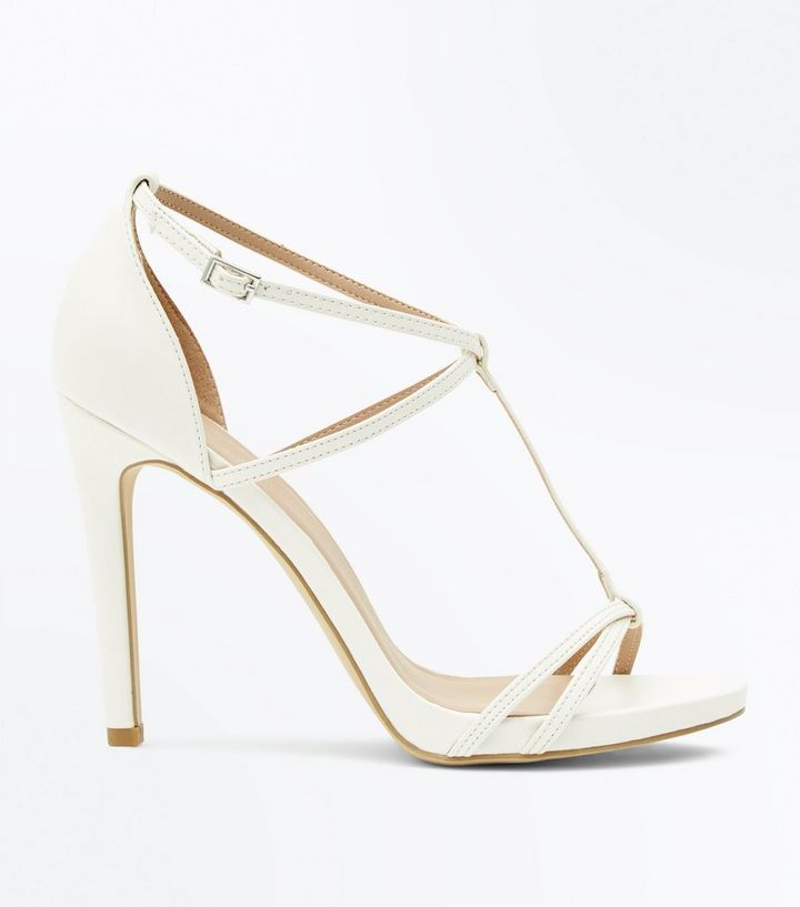 look for latest design famous brand White Strappy T-Bar Stiletto Heel Sandals | New Look