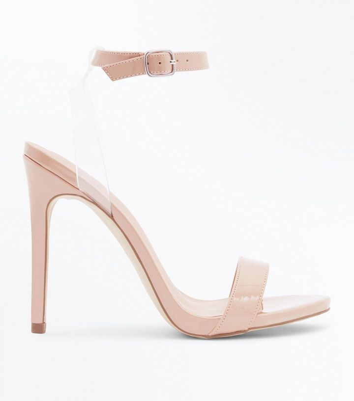 cc7ec3efa0b Nude Patent Clear Strap Heeled Sandals Add to Saved Items Remove from Saved  Items