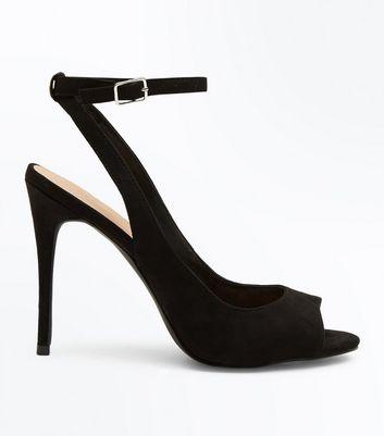 Black Suedette Peep Toe Heels | New Look