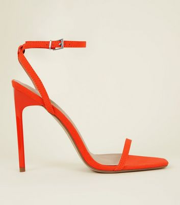 Bright Orange Suedette Barely There Stiletto Sandals
