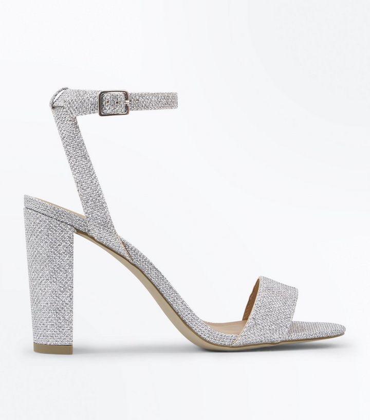 7dfa267e960 Silver Glitter Block Heel Sandals