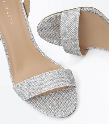 Silver Glitter Block Heel Sandals | New