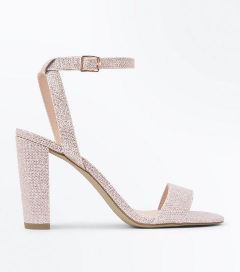 f5b0f54b6a59 ... Rose Gold Glitter Block Heel Sandals ...