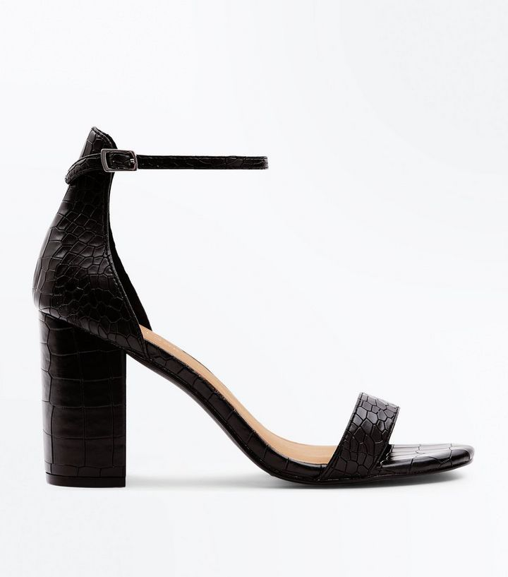 superior quality temperament shoes buy best Black Faux Croc Block Heel Sandals | New Look