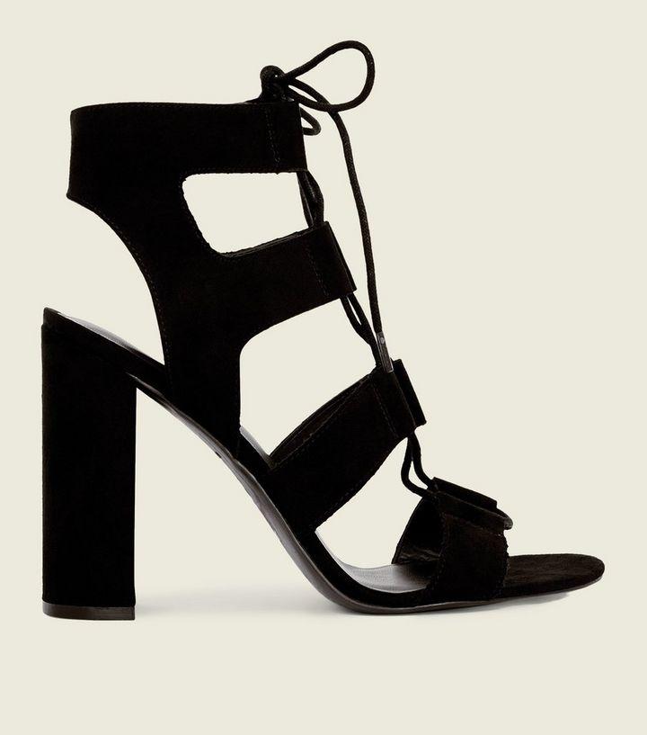 eadddca5c9e Black Suedette Lace Up Cut-Out Block Heels