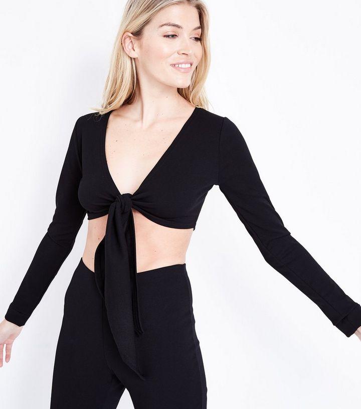 363103f45469d5 Pink Vanilla Black Tie Front Crop Top | New Look