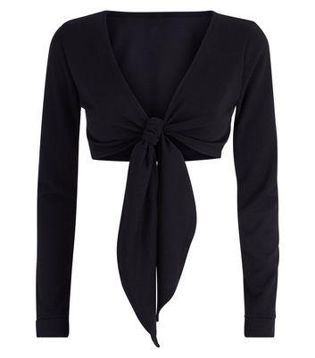 Pink Vanilla Black Tie Front Crop Top New Look