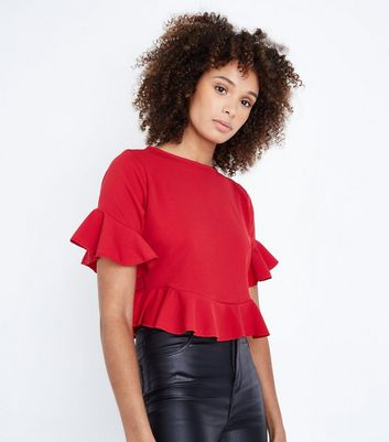 Pink Vanilla Red Frill Trim Top