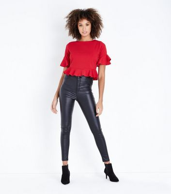 Pink Vanilla Red Frill Trim Top New Look