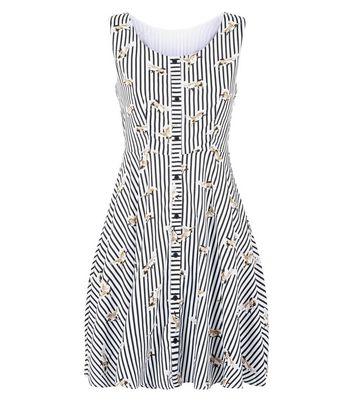 Mela Black Bird Stripe Dress New Look