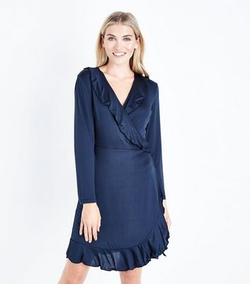 Mela Navy Wrap Front Long Sleeve Dress