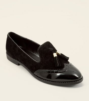 Black Suede Contrast Panel Tassel Loafers