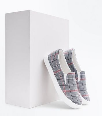 Grey Check Print Slip On Trainers New Look