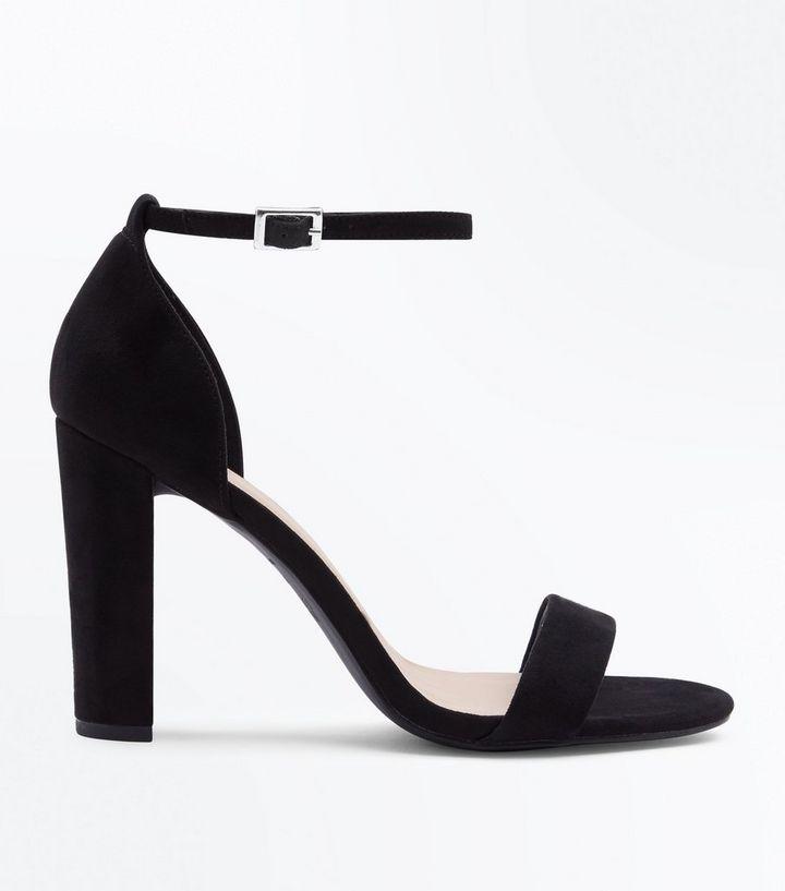 061a00688d5 Wide Fit Black Suedette Ankle Strap Block Heels