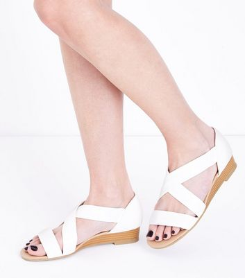 Wide Fit White Low Wedge Sandals | New Look