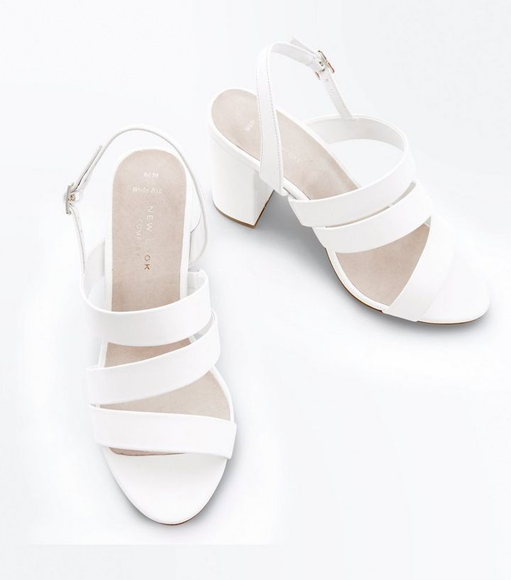 300ac0a0ba26 ... Sandals · Wide Fit White Comfort Flex Strappy Block Heels. ×. ×. ×.  Shop the look