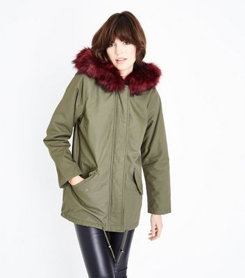 Khaki Contrast Faxr Fur Trim Hooded Parka New Look
