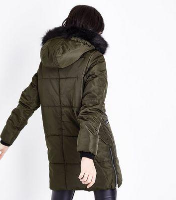 Khaki Fax Fur Trim Padded Parka New Look