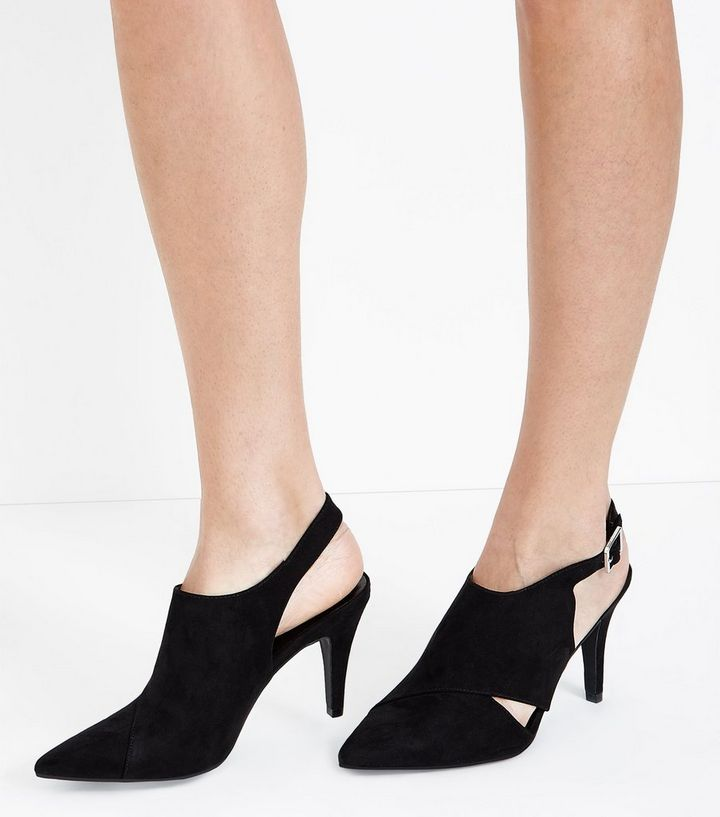 6588159b7f8 ... Wide Fit Black Suedette Pointed Heeled Slingbacks. ×. ×. ×. Shop the  look