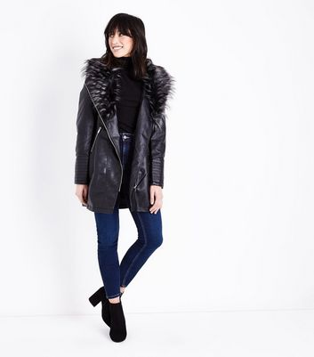 Black Leather-Look Faux Fur Collar Longline Jacket New Look