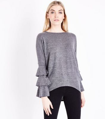 Blue Vanilla Grey Tiered Sleeve Top New Look