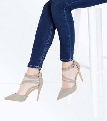 Wide Fit Grey Suedette Asymmetric Strap Pointed Heels New Look