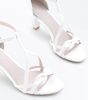 Girls Off White Satin Cone Heel Sandals