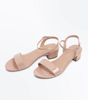Wide Fit Nude Patent Low Heel Sandals