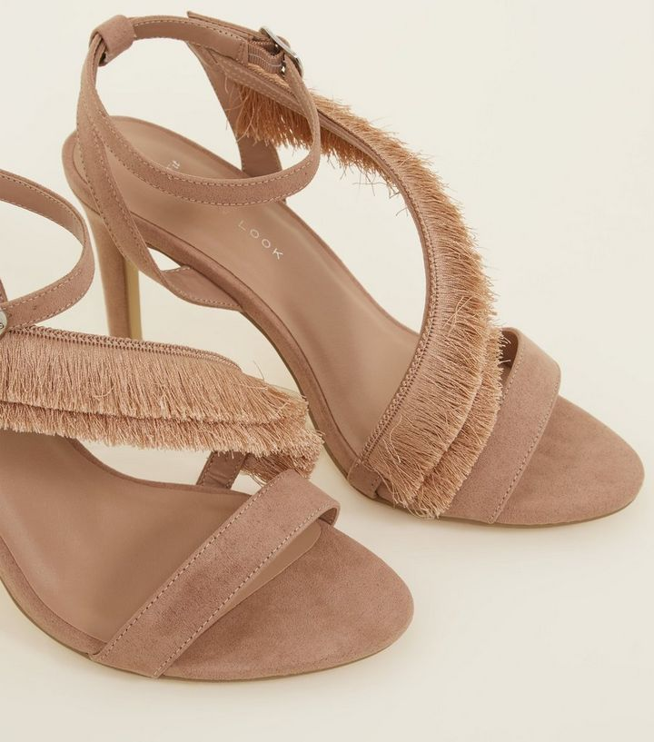 a3d869903dc Wide Fit Nude Suedette Fringe Strap Sandals Add to Saved Items Remove from  Saved Items
