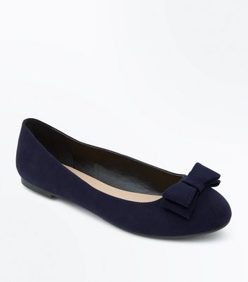 Wide Fit Navy Suedette Chunky Bow Ballet Pumps