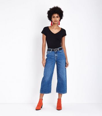 Blue Cropped Wide Leg Jeans