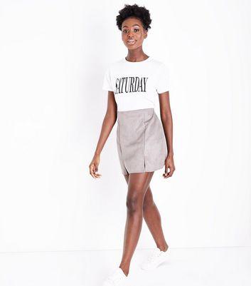 Pink Vanilla Grey Suedette Skirt New Look