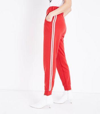 Red Side Stripe Slim Leg Joggers New Look